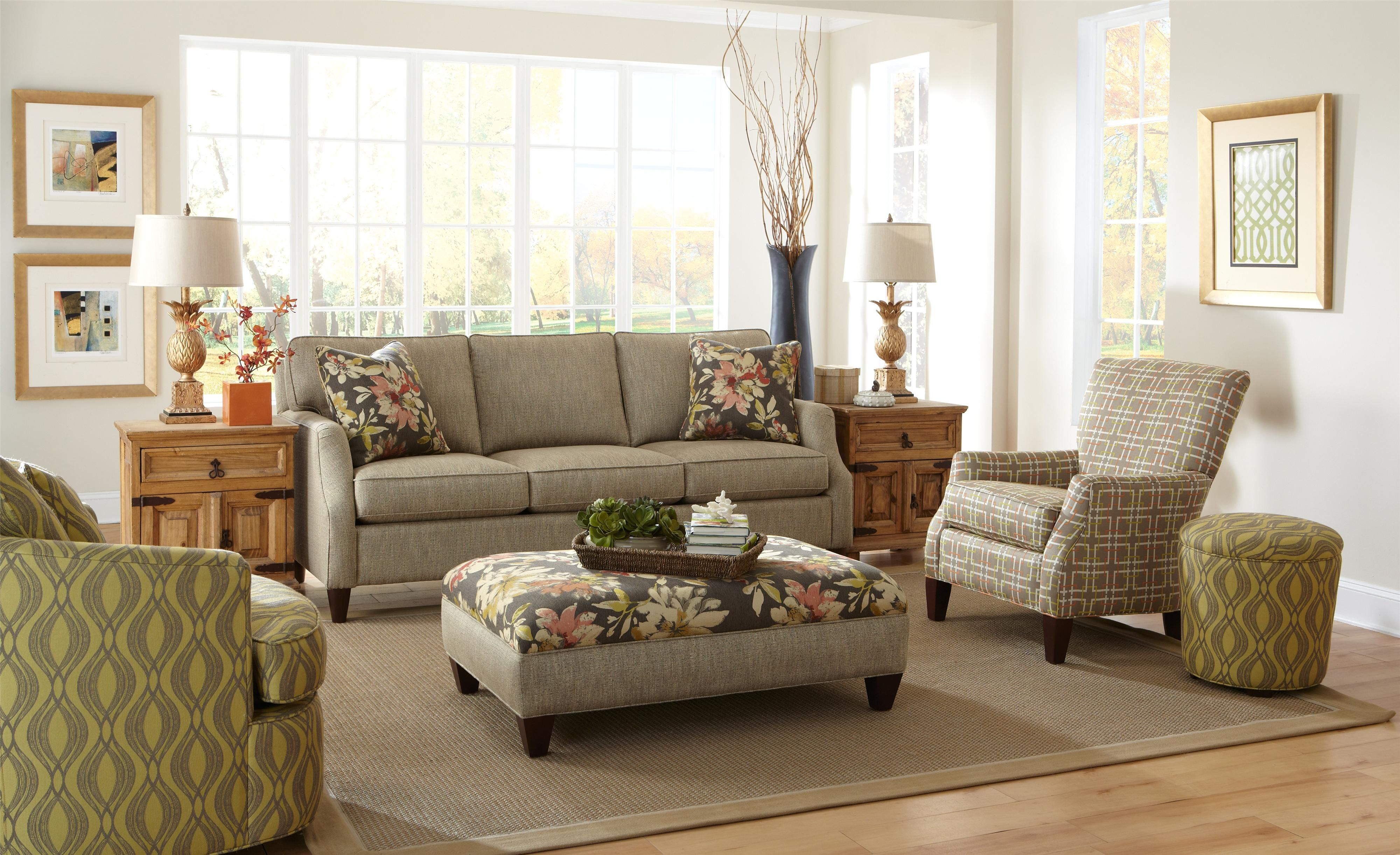 736400 Transitional Sofa With Flair Tapered Arms By Craftmaster Home Living Room Craftmaster Furniture Furniture