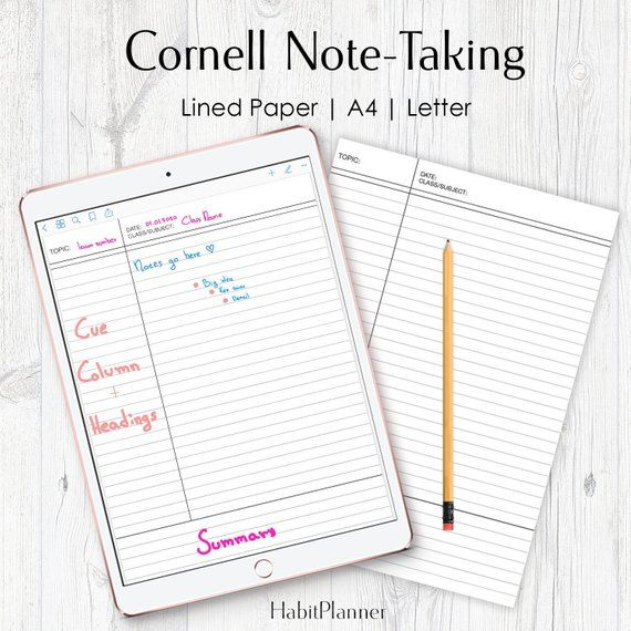 Cornell Notes Printable, Cornell Method, Class Notes