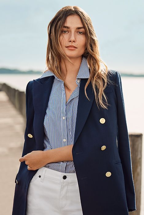 The Navy blazer - navy blazer, striped shirt & white pants