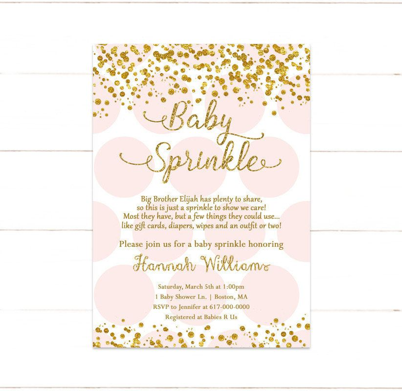 Pink and Gold Baby Sprinkle Invitation, Baby Girl Sprinkle ...