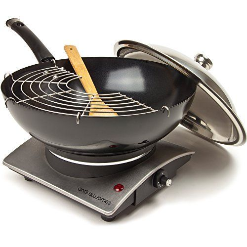 andrew james 1500w premium electric wok with tempura rack bamboo spatula and hot plate andrew james 1500w premium electric wok with tempura rack bamboo      rh   pinterest com
