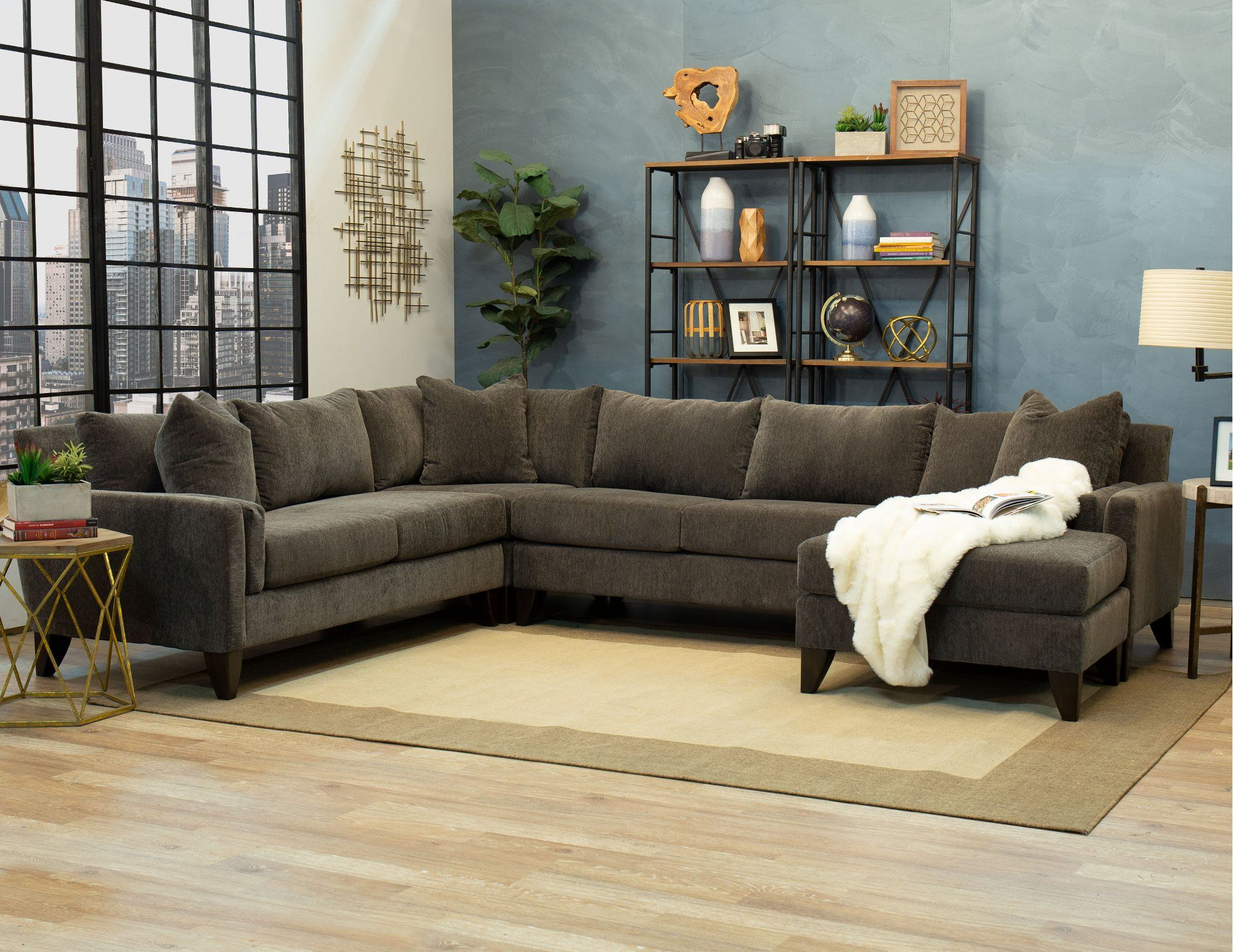 Fog Gray 3 Piece Sectional Sofa with LAF Loveseat - Riley ... on Riley 3 Piece Sectional Charleston id=78622