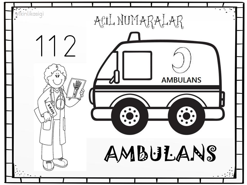 Acil Numaralar Ambulans Boyama Sayfası Etkinlikasigi Working Pages