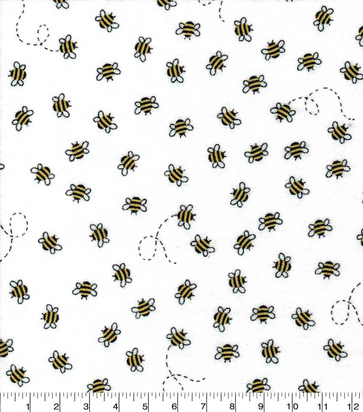 Nursery Flannel Fabric All Over Bees In