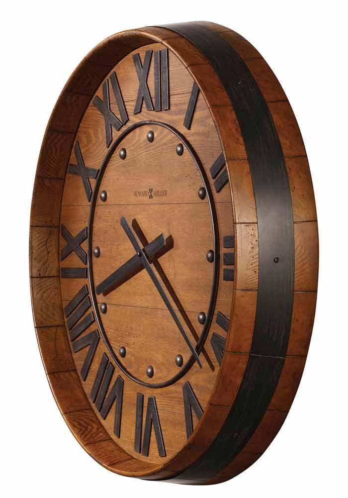 vino time rustic barrel clock d co salon wine barrel wall wine barrel furniture et wine. Black Bedroom Furniture Sets. Home Design Ideas