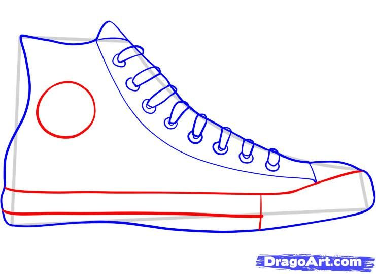 how to draw converse, how to draw chuck taylors step 5 | PTA ...