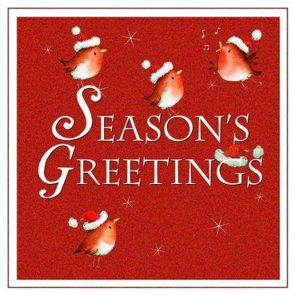 Weihnachtskarte - Seasons Greetings - Rotkehlchen
