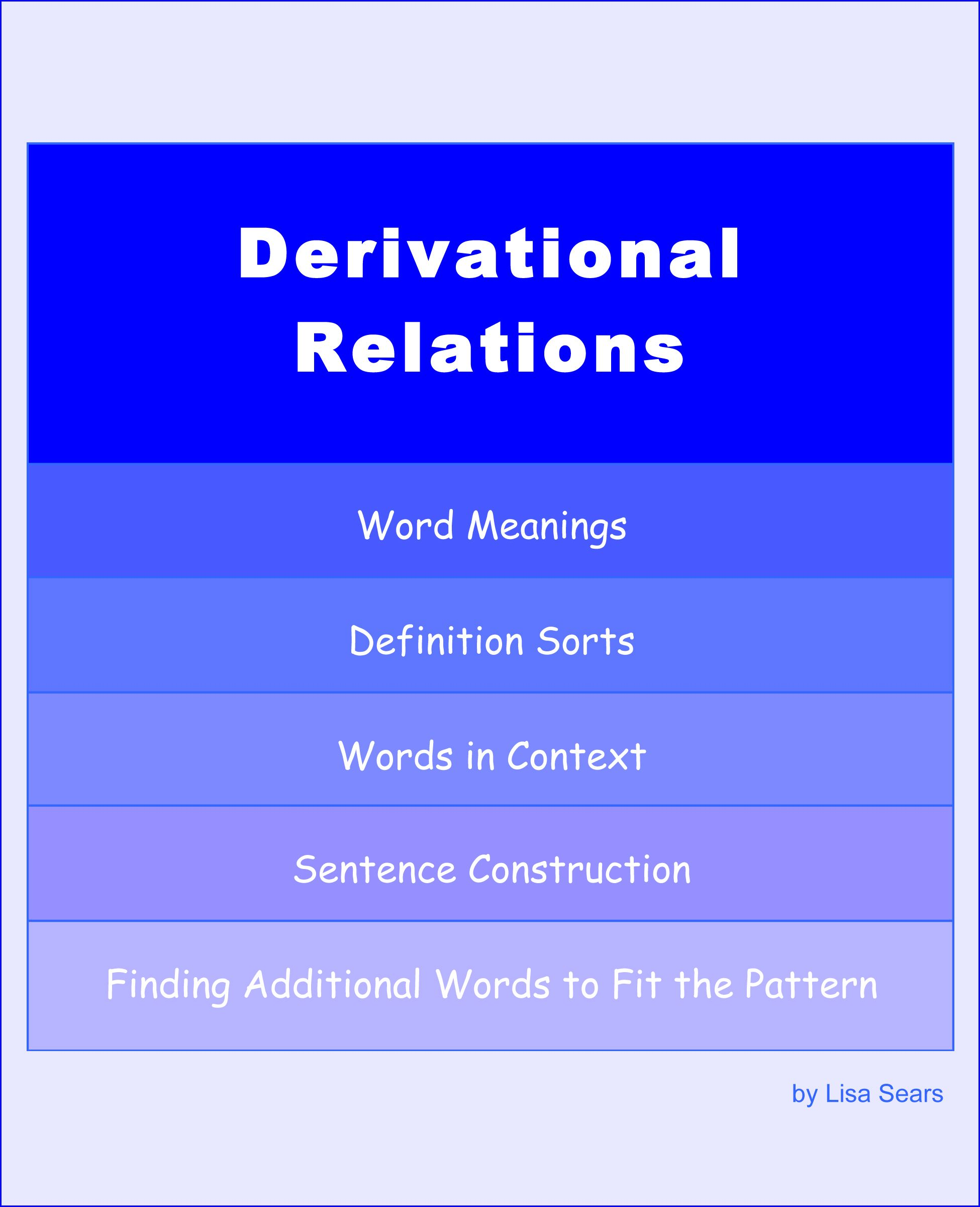 Words Their Way Derivational Relations Sorts
