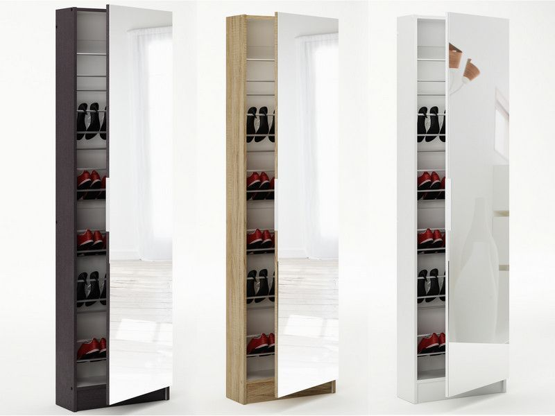 Mirrored Shoe Storage Cabinet Oak Finish Doubly Useful This Conceals Up To 30