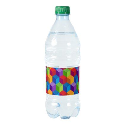 Rainbow Colorful Block Cube Pattern Water Bottle Label  Water