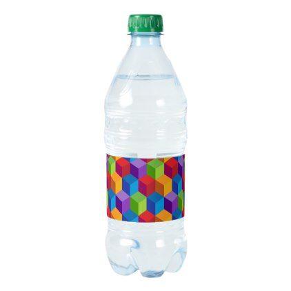 Rainbow Colorful Block Cube Pattern Water Bottle Label  Water