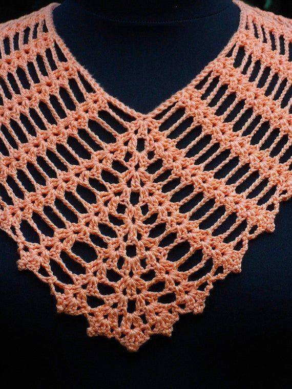 Naranja algodón ganchillo triángulo bufanda, bufanda de verano