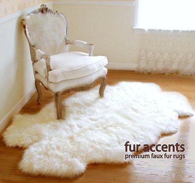 Faux Fur Rug White Sheep Skin Accent 4 Pelt Quatro Design Shag Throw New Fur  Accents Premium Faux Fur Rugs Sheepskin Area Rugs