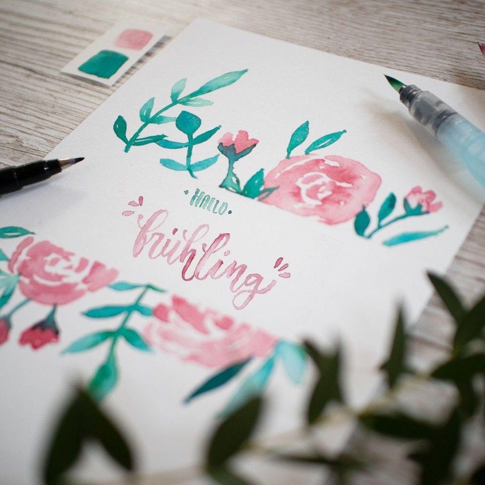 Hallo Frühling Handlettering Spruch Tutorial