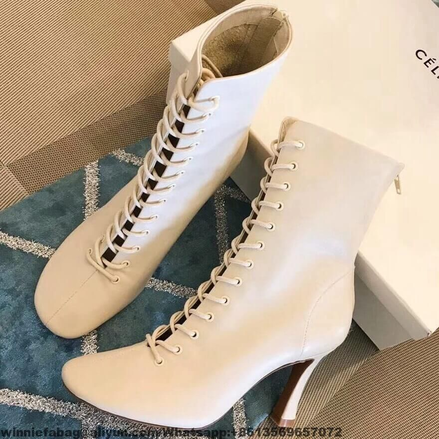 pretty nice 7661b f38fa Celine Glove Bootie Laced Ankle Boot in Lambskin 2018