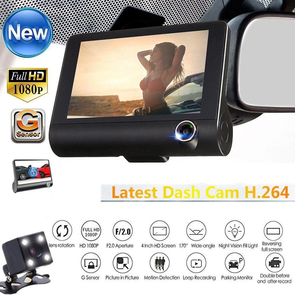 "HD Dual Lens Car DVR Dash Cam 4/"" Vehicle Rearview Camera Video Recorder G-Sensor"