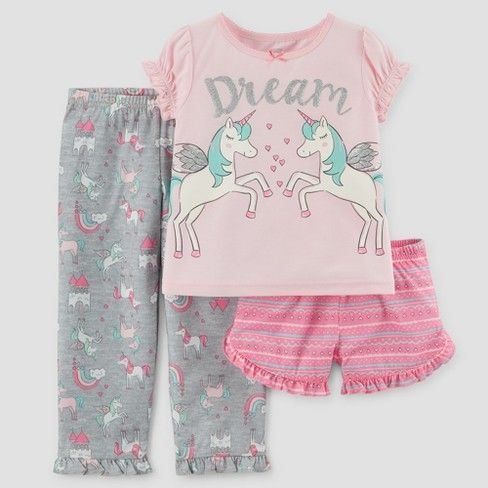 Toddler Girls  3pc Short Sleeve Dream Unicorn Pajama Set - Just One You™  Made by Carter s® Pink 4T   Target  babypajamas 53ea24621