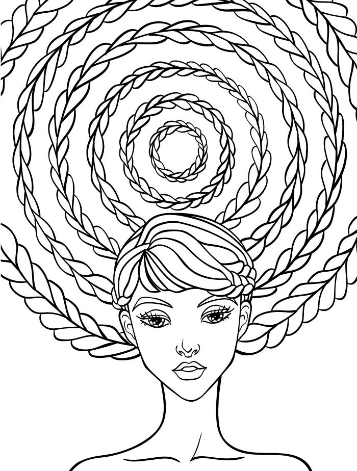 10 Crazy Hair Adult Coloring Pages | floral hair colouring pages ...