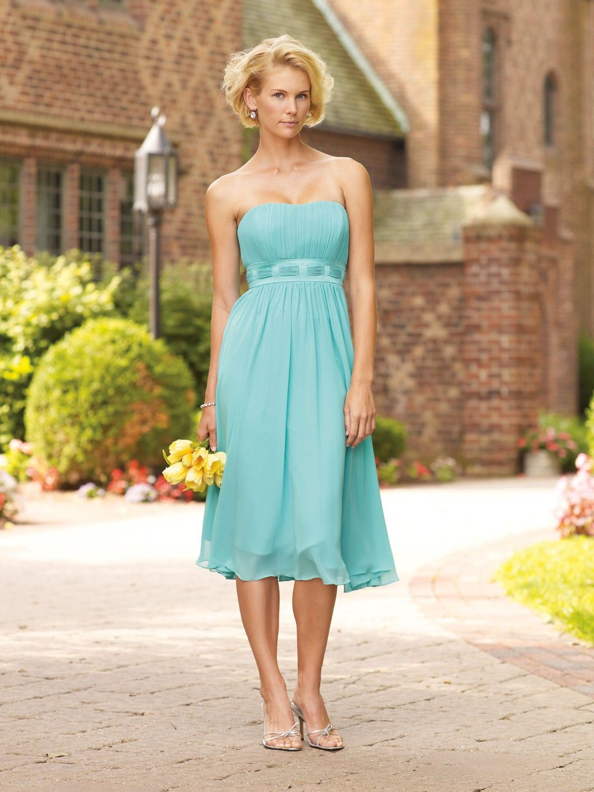 A ligne mollet longueur robes demoiselle honneur en mousseline de a line chiffon finely ruched bodice softly curved neckline tea length bridesmaids dresses ombrellifo Images