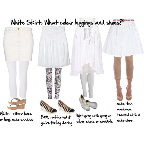 How to choose leggings and shoes - Wondering what leggings to wear with a white skirt or any coloured outfit? Discover it here.