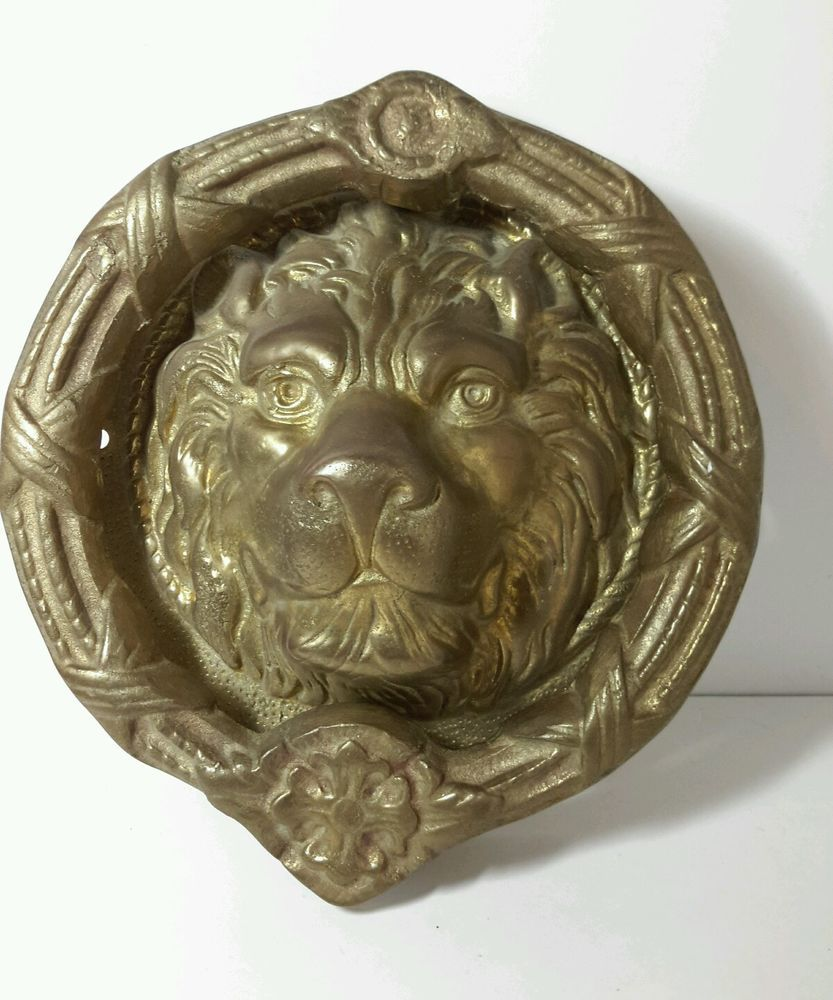 Large Heavy Lion Head unique antique vintage brass lion door knocker 8