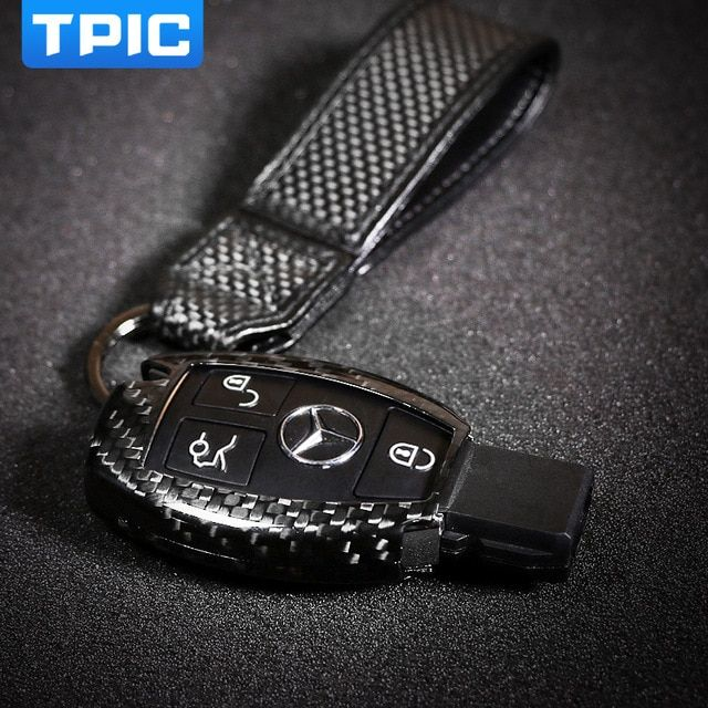 TPIC Carbon Fiber Car Key Cover Case Fob Protector For