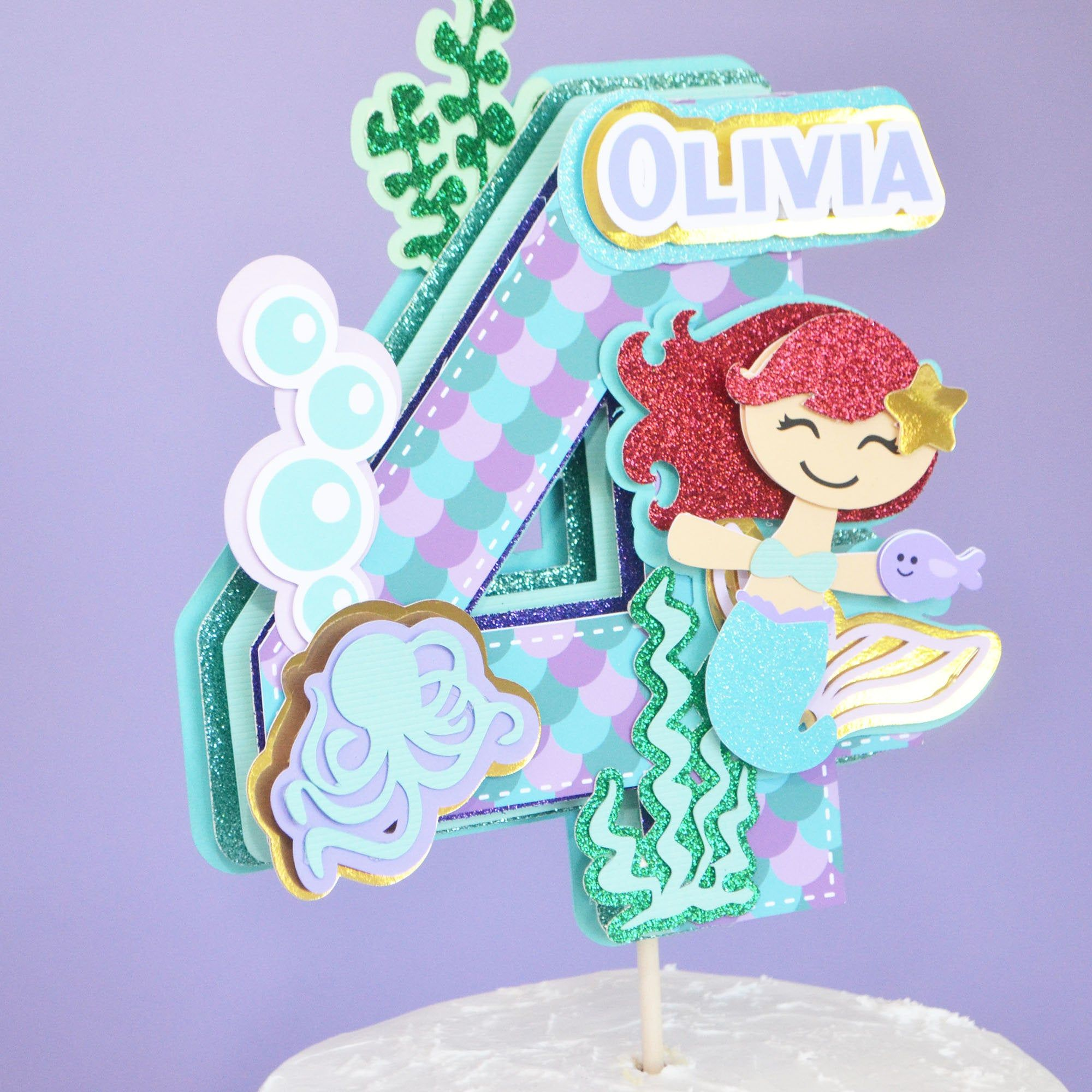 Mermaid Cake Topper Under The Sea Cake Topper Mermaid 3rd Birthday 100 Original Cake Topper By Gabyro Mermaid Cake Topper Mermaid Cakes Cake Banner Topper