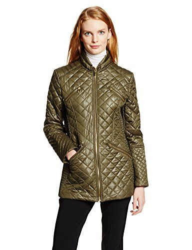 41e28818f51 Via Spiga Women's Lightweight Diamond Quilt Jacket, Moss, Small. Standing  collar. 28