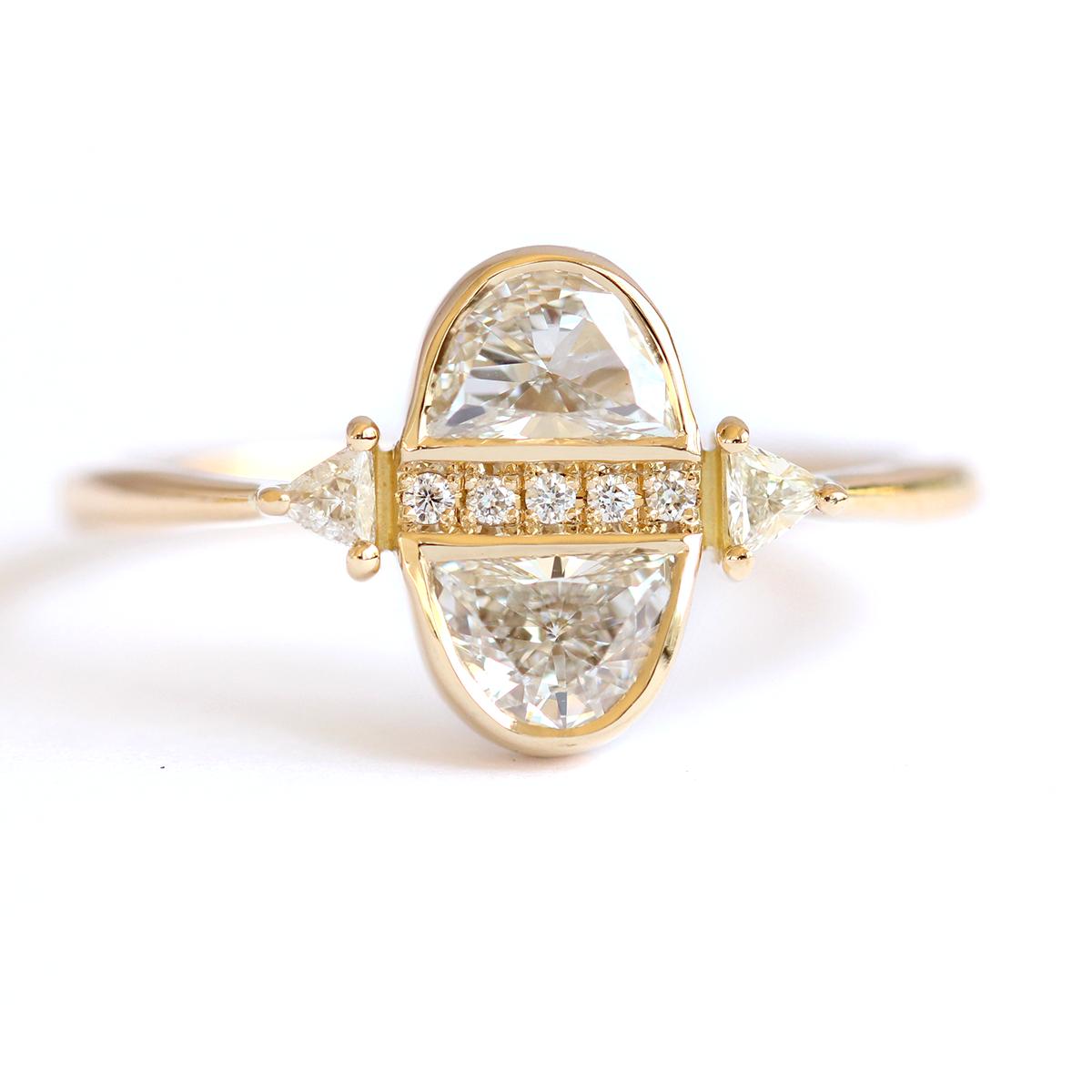 Photo of Half Moon Diamond Engagement Ring – Diamond cluster engagement ring