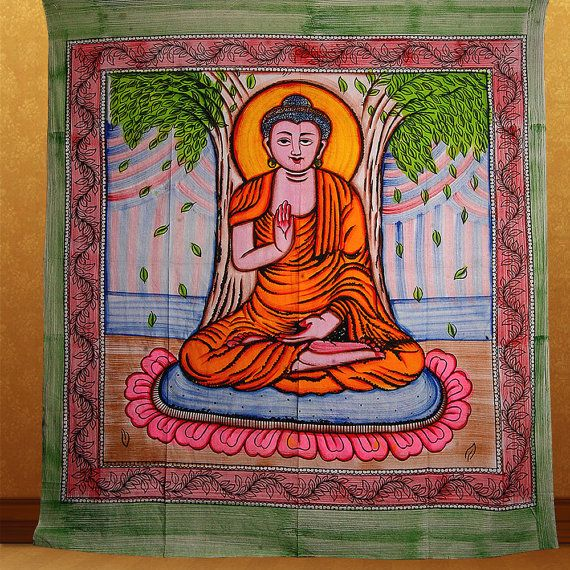 Brown Buddha Cotton Screen Printed Tapestry & Wall Hanging ... |Buddha Wall Tapestry
