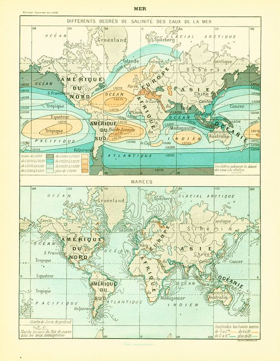 French antique prints published in Paris by #LAROUSSE between 1897 - copy world map africa continent