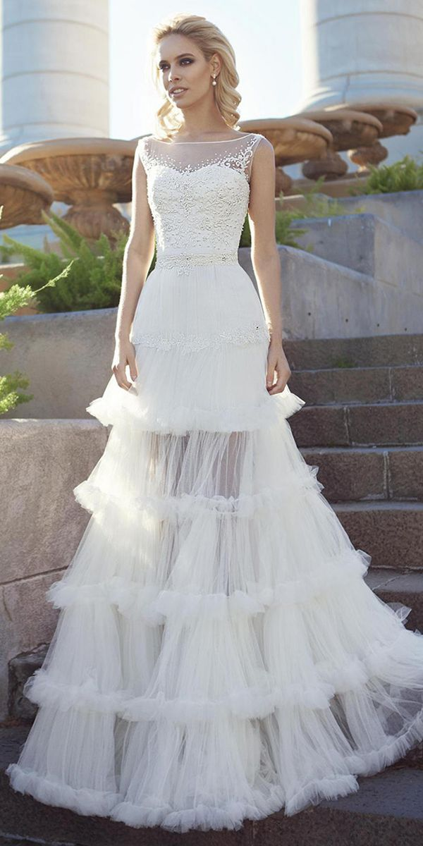 Marvelous Tulle Chiffon Scoop Neckline 2 In 1 Wedding Dress With Beaded Embroidery Detachable Skirt