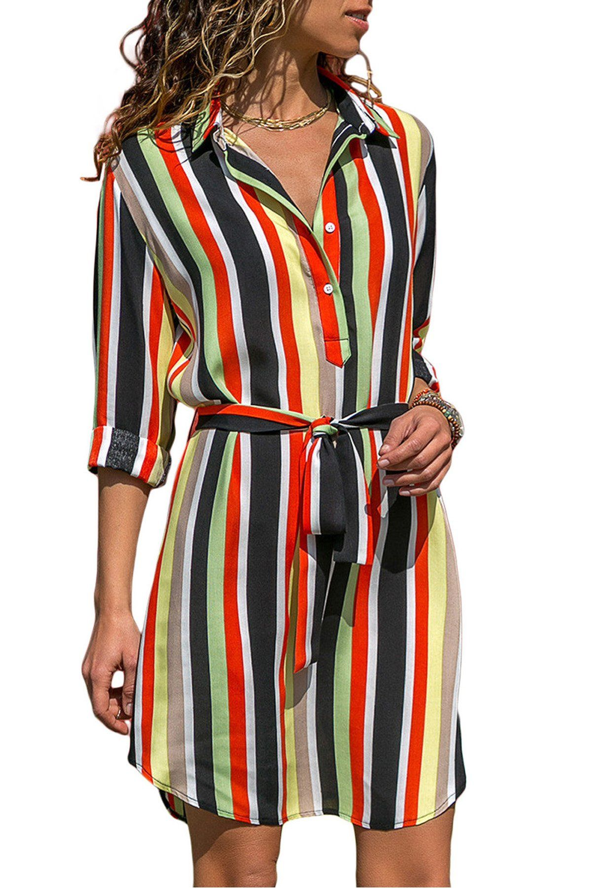 Five Color Print Button V Neck Shirt Dresses in 2019  6e4bbe36cfa5