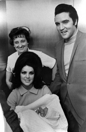 Elvis and Priscilla Presley with Lisa Marie at Baptist Hospital. Born Feb. 1, 1968, the baby weighed 6 pounds, 15 ounces.