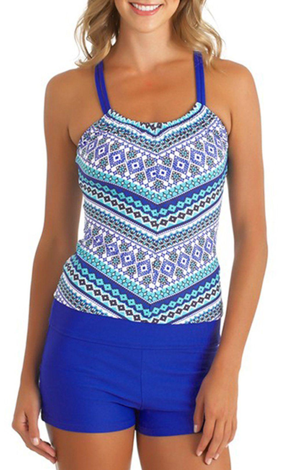 c083b175b9ecf Upopby Women s Raceback Tankini Swimwear Top with Boyleg Set Bathing Suits  Two Piece Swimsuits Blue XL