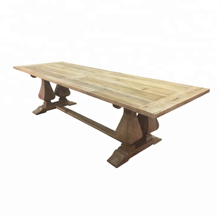 Reclaimed Wood 300cm Farmhouse Rectangular Long Dining Room Table With Double Pedestal Find Complet Dining Table Long Dining Room Tables Unique Dining Tables