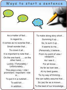 Good Ways To Start A Sentence Learn English English Writing English Grammar