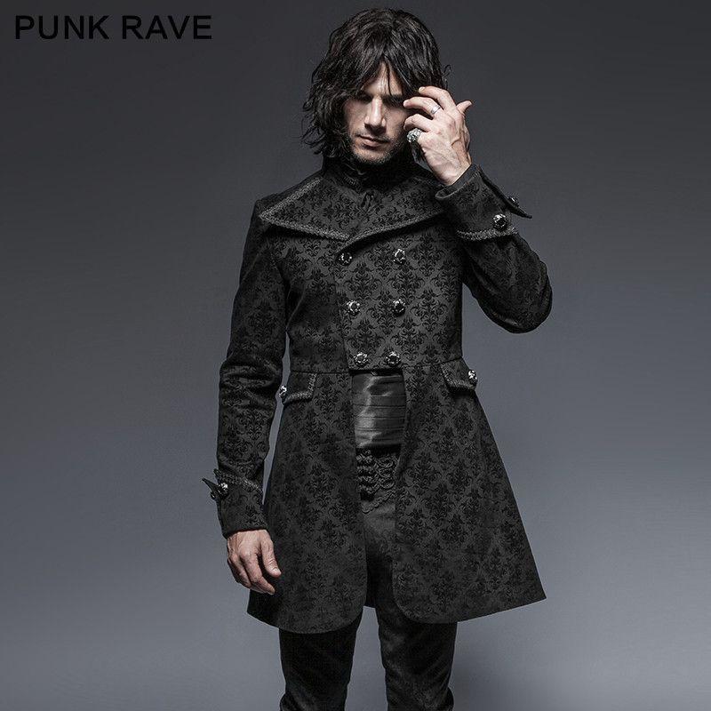 Punk Rave Flower Pattern Gothic Denim Fabric Man Jackets Y-640