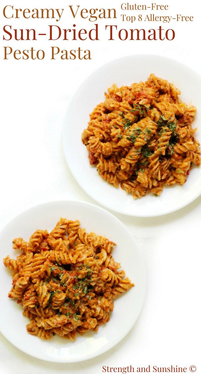 Creamy Vegan SunDried Tomato Pesto Pasta Glutenfree AllergyFree  Strength and Sunshine RebeccaGF666 The sweet tart and rich flavor of sundried tomatoes are a musttry addi...