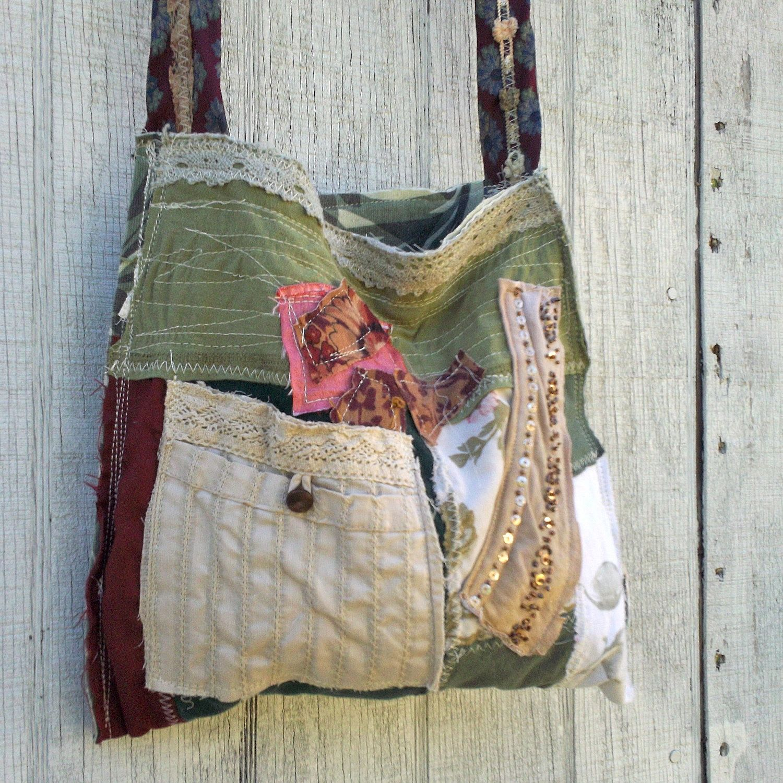 Tiffany Koshiol Upcycled Purse Funky Eco Tattered Patchwork Handbag Tote Wearable Art 64 99 Via Etsy