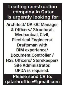 Leading construction company in Qatar is urgently looking