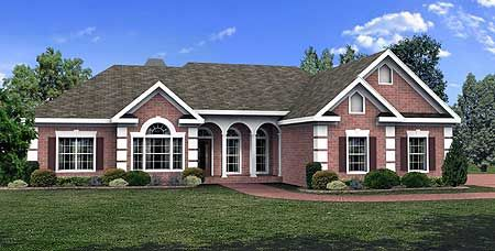 Plan 2062ga 3 Bed House Plan With Elegant Brick Exterior Ranch Style House Plans Ranch House Plans House Plans