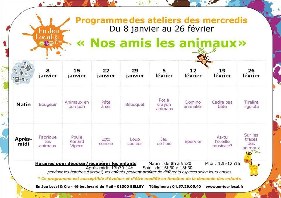 """Du 8 janvier au 26 février les ateliers """"nos amis les animaux"""" avec En Jeu Local et Cie"""