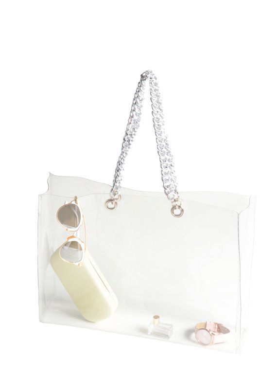 Shopper purse transparent bag with chain clear by YPSILONBAGS