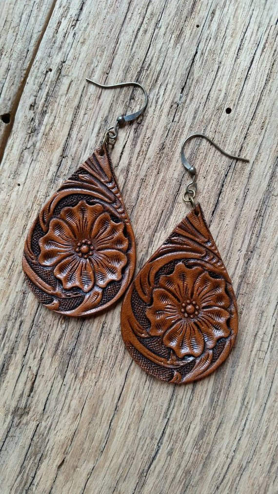 Jewelry for Women, Copper Ear Cuff Tooled Leather Design