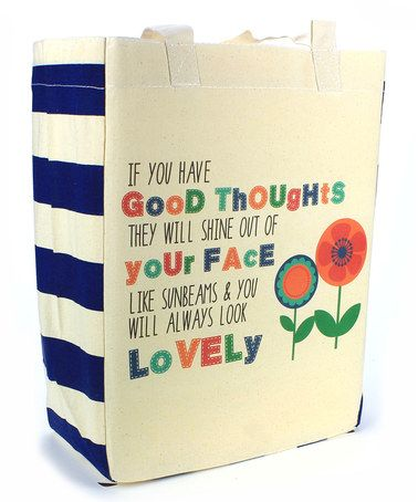 Another great find on #zulily! 'Good Thoughts & Sunbeams' Flower Tote #zulilyfinds