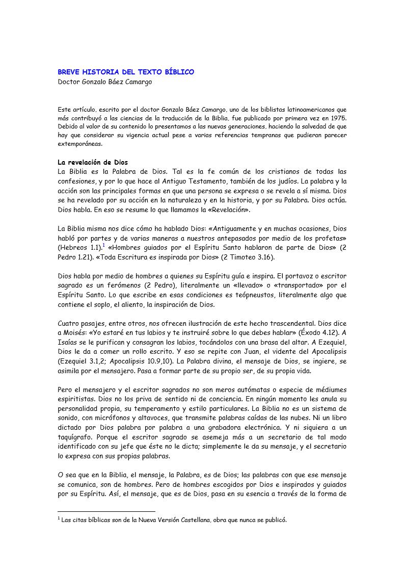 Breve Historia del Texto Biblico Gonzalo BAEZ CAMARGO