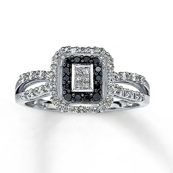 COMING SOON Black Diamond Ring 10 kt. white gold Princess cut Black Diamond Ring. Kay Jewelers Jewelry Rings
