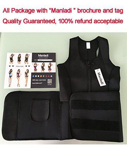 d9a34c7c24 Manladi Neoprene Sauna Suit Tank Top Vest Waist Trimmer with Adjustable Waist  Trainer Belt at Amazon Women s Clothing store