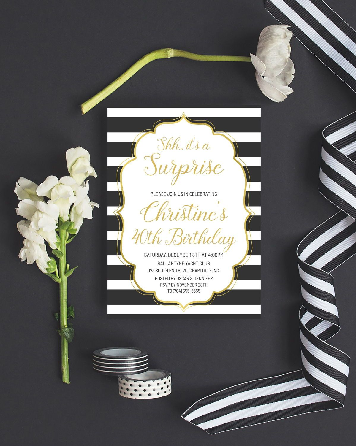 Surprise Birthday Party Invitations Etsy